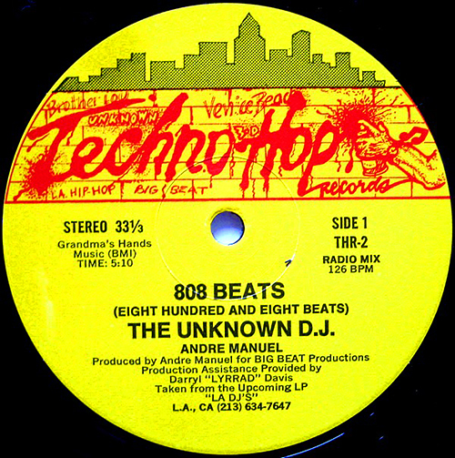 UNKNOWN DJ - The 808 Beats Eight Hundred And Eight Beats - Techno Hop Records - electro - 1984