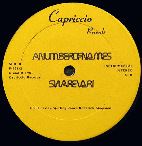 A NUMBERS OF NAMES SHAREVARI Capriccio Records vinyl 12 cover classic detroit electro masterpiece Lookout week end Part 31 electro funk electro rap blog