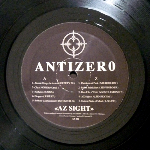 back to bionic ANTIZER0 AZ Sight vinyl ep Antizero label electro techno SPACEY Tune by ALIENSEXTOY