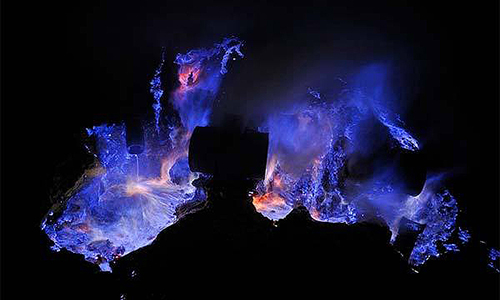 Blue lava flow from the Indonesian volcano