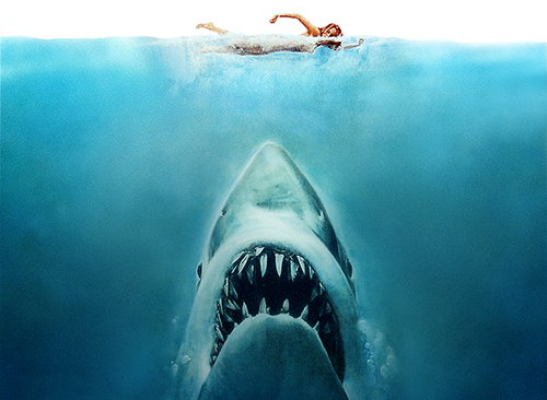 back to bionic JAWS horror film Steven Spielberg 1975 first victim soundtrack Swim for your life...