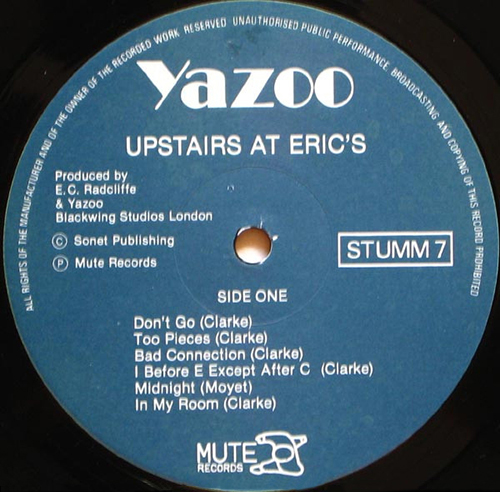 YAZOO - Upstairs At Erics album -  SYNTH-POP - yahoo dont go - MUTE Records